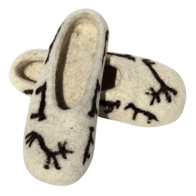 Zebu Authentic Felt Slippers. Zebu Design